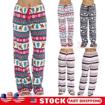 Warm Women Christmas Print Pajama Lounge Pants Soft Animal Printed Casual Knitted Sleep Long Trousers Loose Casual New Sleepwear