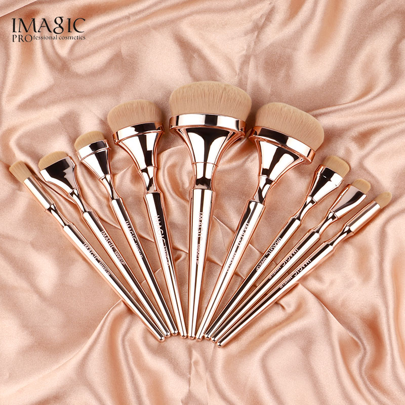 IMAGIC 9pcs Makeup Brushes Kit Soft Nylon Hair Partij Blending Brush Metallic Handle Maquillaje Profesional Oogschaduw Tools Set 1