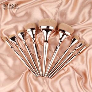 Image 3 - IMAGIC Juego de brochas de Maquillaje de nailon suave, 9 Uds., brocha de mezcla, Mango metálico, Profesional, Oogschaduw