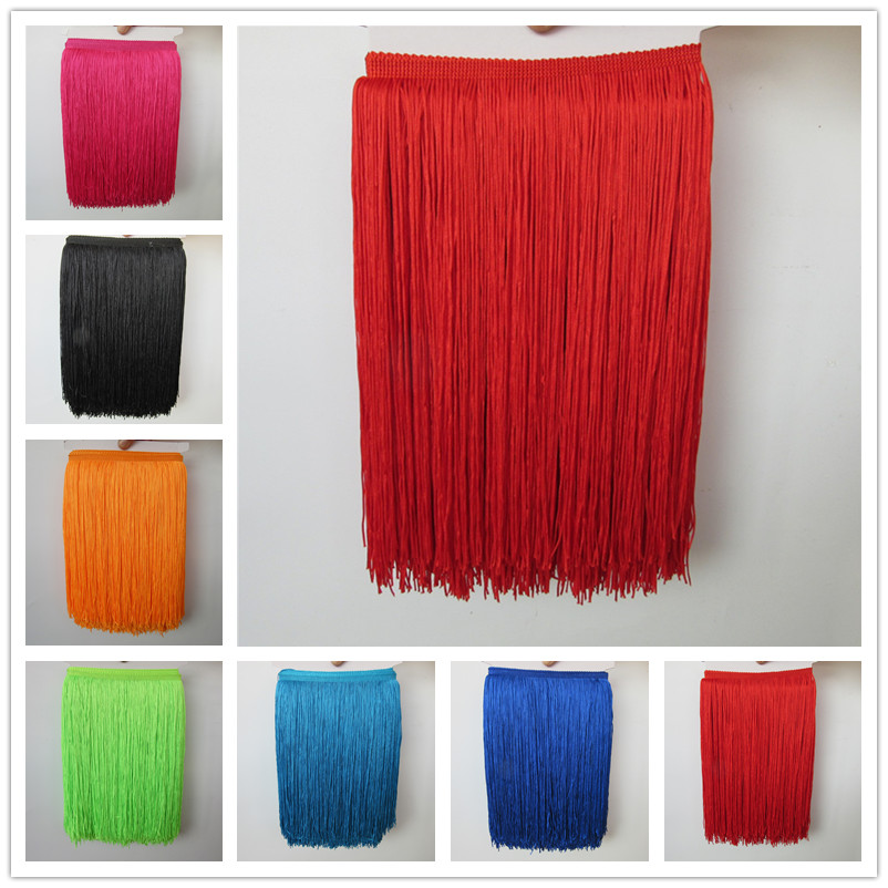 Wholesale 1 meter/lot 30cm Long Fringe Lace Tassel Polyester Lace Trim Ribbon Latin dance skirt curtain fringes for sewing