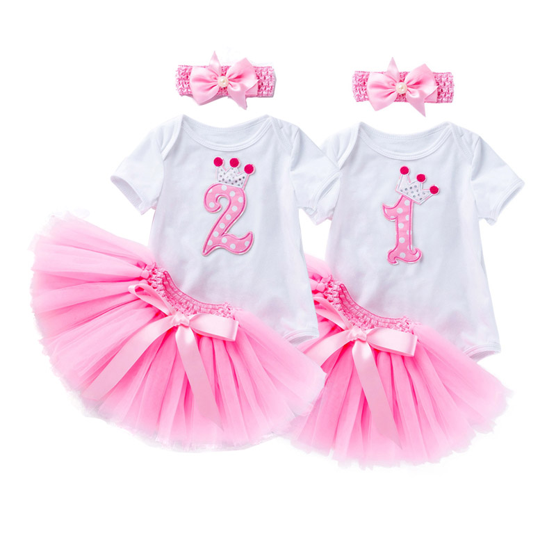 2 Year Girl Baby Birthday Dress First Birthday Girl Party Tutu Dress Toddler 3 Piece Infant Clothing New Born Romper Dress Gown