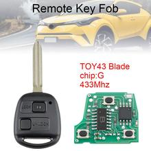 цена на 433Mhz 2 Buttons Remote Car Key with G Chip and TOY43 Blade Fit for Toyota RAV4 Prado Tarago Kluger Avensis 2003-2010 New