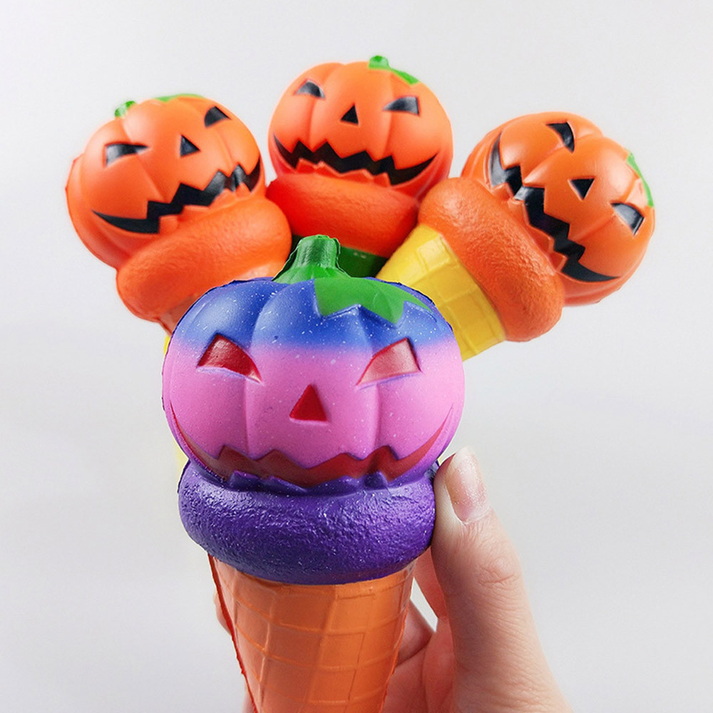 Jumbo Halloween Pumpkin Squishies Charms Cartoon Ice Cream Slow Rising Toy Smooth Mushy Scented Squeeze Toys Kids Xmas Gift New