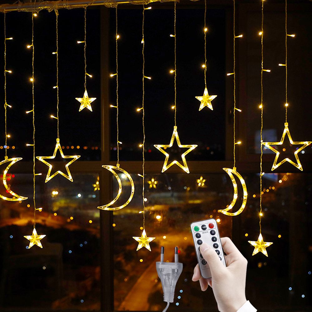 Star Moon Garlands Curtain Lights 3.5M LED Christmas Fairy Lights 220V Outdoor For Wedding Holiday Lighting Party New Year Decor
