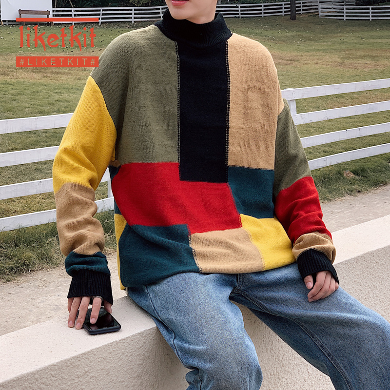 Liketkit Men Spring New Casual Turtleneck Sweater 2020 Color Block Fashion Korean Warm Pullovers Male Oversized Knitted Sweaters