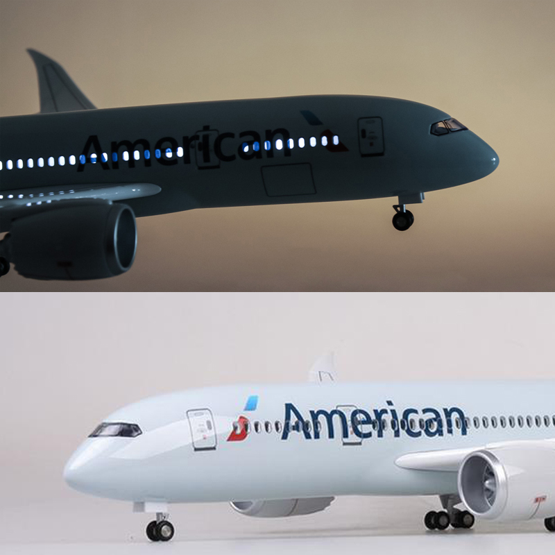 1:130 Scale 47CM Airplane Airbus B787 American airlines Model W LED Light and Wheel Diecast Plastic Resin Plane For Collection image