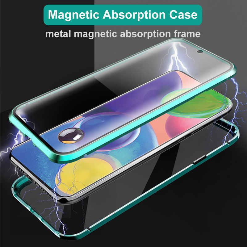 양면 마그네틱 360 보호 케이스 삼성 A31 A51 A71 A21s A41 A50 A70 S20 S10 S9 S8 플러스 강화 유리 금속 커버