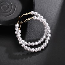 New Fashion Pearl Earrings Personality Metal Geometry Big Round Simulated Drop earrings for Woman