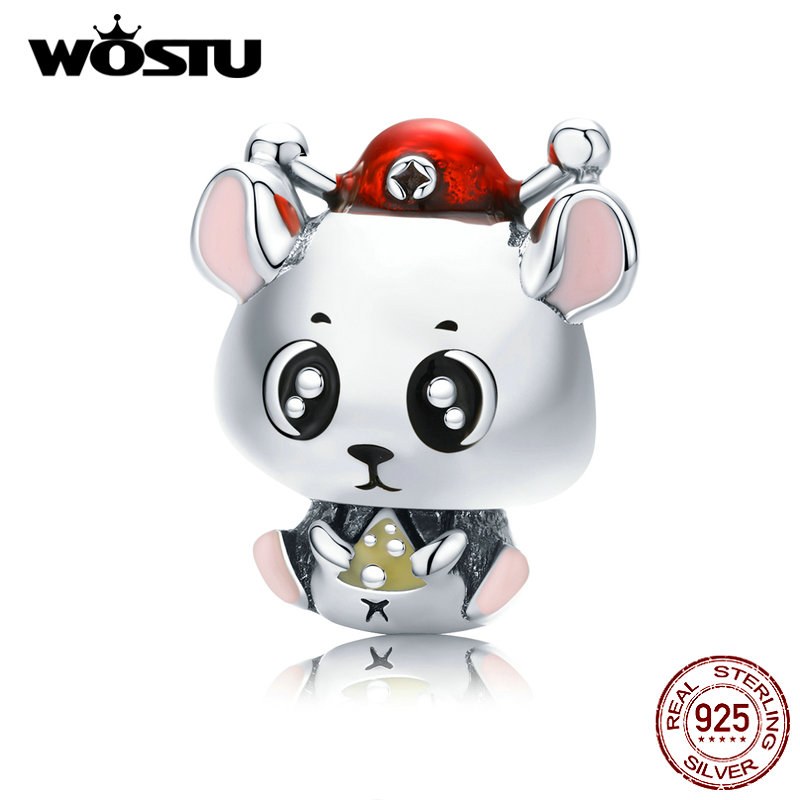 WOSTU 925 Sterling Silver Cute Mouse Wealth Beads Lucky Charm Fit Original Bracelet Pendant New Year Lovely Jewelry Gift CTC113(China)
