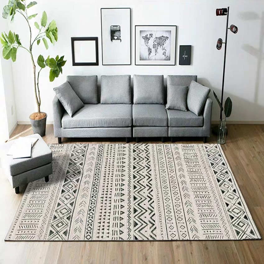 Tapis imprimé géométrique populaire INS de style marocain, tapis de table basse nordique de grande taille de salon, tapis de sol de décoration tout match