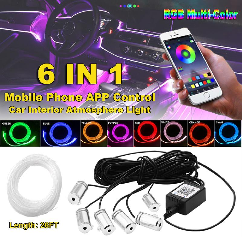 RGB LED Strips Ambient Light APP Bluetooth Control For Car Interior Atmosphere Light Lamp 8 Colors DIY Music 8M Fiber Optic Band