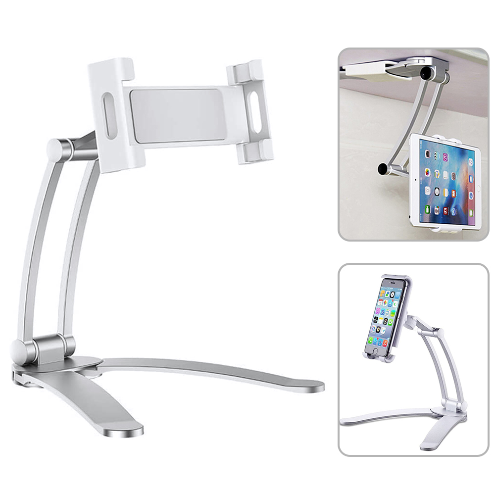 2 In 1 Flexible Lazy Bracket, Pull-Up Desktop/Wall Cell Phone Tablet Holder Stand Adjustable 360 Rotating Mount For Bed Kitchen