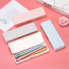 Colorful Simple Cute Plastic Pencil Case Pencil Pen Box School Supplies For Students Girls Without Printing