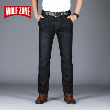 Business Straight Jeans Men Brand 2019 Autumn Winter New High Quality Mens Jeans Pants Fashion Slim Casual Long Trousers недорого