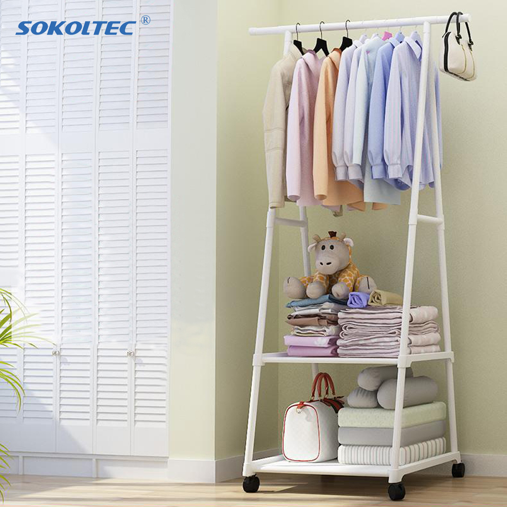 Fast Dispatch Sokoltec floor hanger multifunctional triangle simple coat scarf bag hanger stainless steel removable wheel rack title=