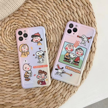 Japan Cute Charlie Brown family Gradient photo frame phone case For iphone 11 11pro Max X XS MAX XR silicone for iphone 7 8 plus
