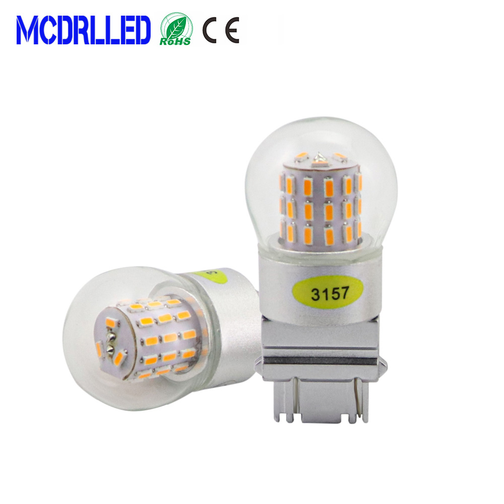Mcdrlled Auto <font><b>Led</b></font> Bulb 4w <font><b>T25</b></font> 3157 <font><b>Led</b></font> 3156 P27/7w For Car Brake Reverse Light 12v Lamp Turn Signal Yellow White image