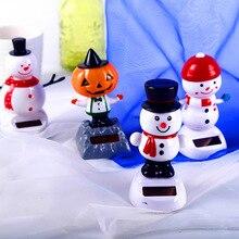 Santa Claus Elk Snowman Solar Shaking Head Hanging Tabletop Decoration Christmas Gifts Children Toys Decorations