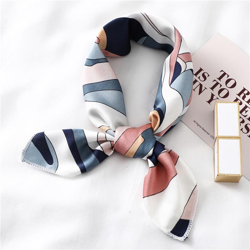 Small Square Silk Scarf Hair Band Foulard Women Kerchief Neck Scarves Fashion Print Lady Satin Bandana 2020 New