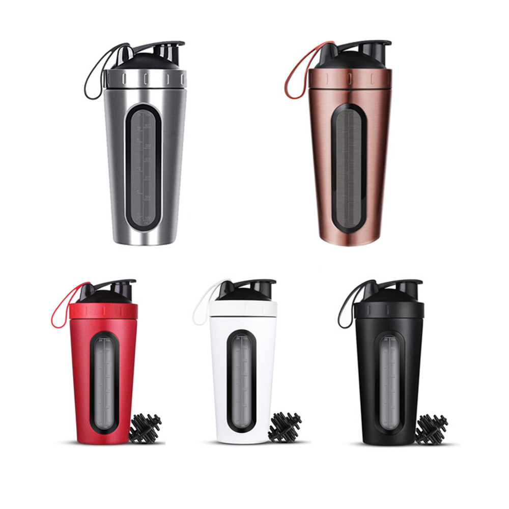 Protein Shaker Bottle Cup Shake Mixer Gym Powder Blender Fitness Workout Sport Stainless Steel Vacuum Insulation image