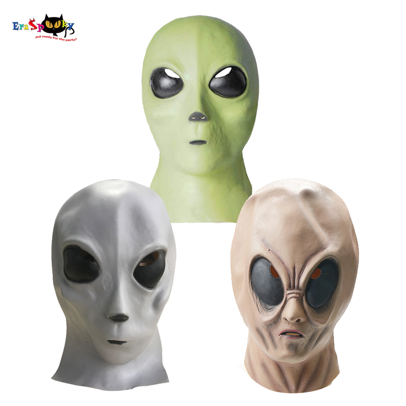 Eraspooky Scary Realistic Alien Costume Mask Halloween Costume For Adult Men Full Face Latex Masks Carnival Party Props
