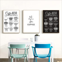 Coffee Menu Canvas Painting Wall Art  Black And White Poster Print Nordico Pictures For Cafe Shop Decoration