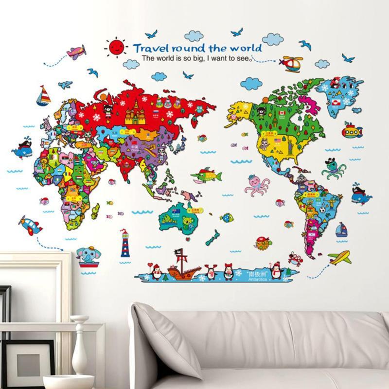 Animals World Map Wall Sticker Removable Vivid Decal Waterproof Kids Room Self-Adhesive Kindergarten Decorative Accessories