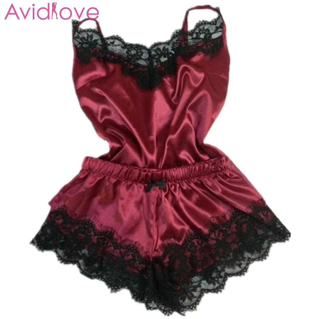 Women Sexy Lingerie Pajama Set Satin Lace Patchwork Spaghetti Strap Sling Top Shorts Two-piece Erotic Nightwear For Female