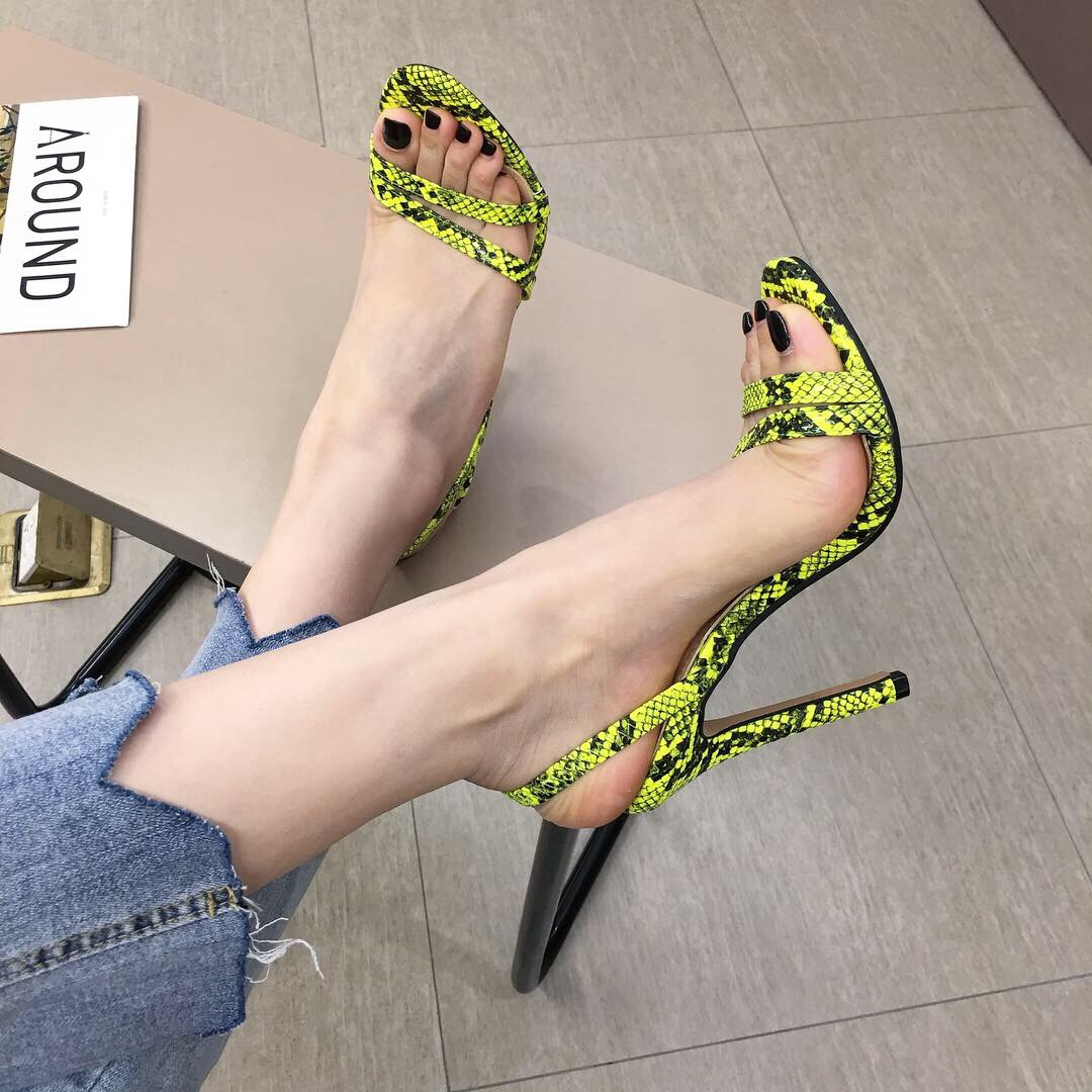 Casual Sandals Thin-Heels Ladies Shoes Gladiator Peep-Toe High-Slip-On Summer Women Classics