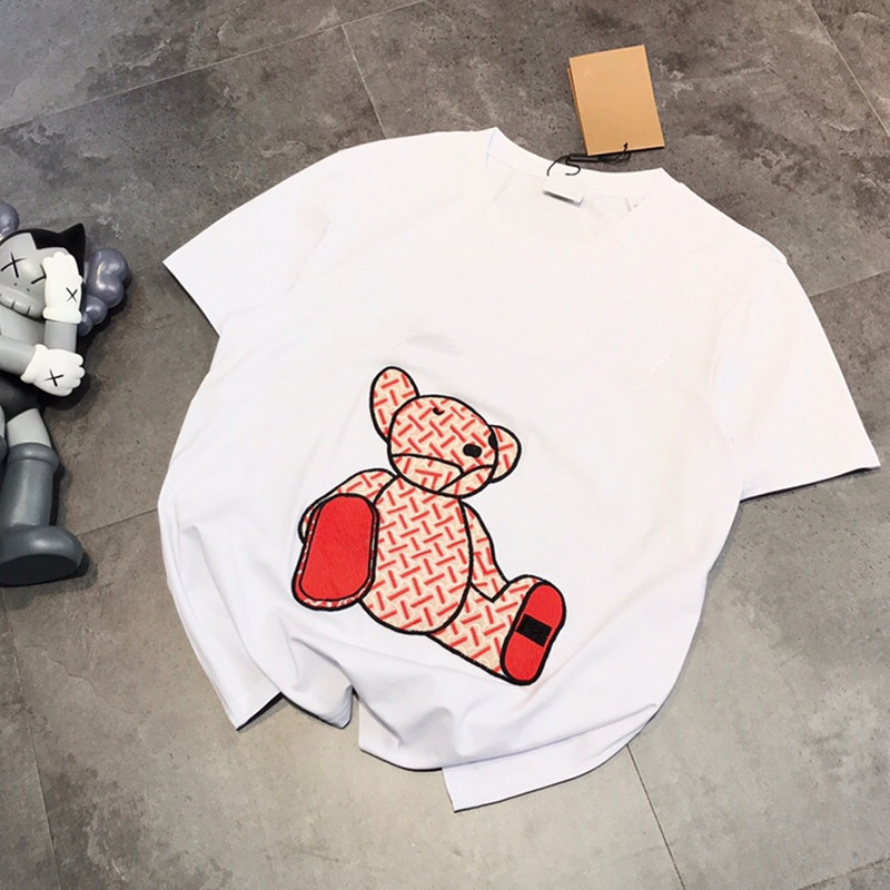 2020 Spring Summer Women Men Couple Embroidery Bear Loose Casual Short Sleeve T-Shirt