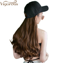Vigorous Baseball Cap with Long Wavy Hair Extensions Black Synthetic for Girls Party Easy to Wear