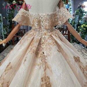 Image 5 - Axjfu 高級王女ビーズクリスタル黄金の花のレースのウェディングドレスヴィンテージボートネック花嫁フリルローズのウェディングドレス 2408