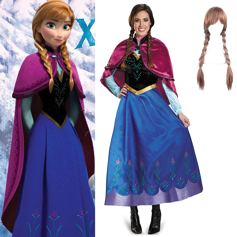 Adult Anna Elsa Dress Cosplay Costume Girl Princess Anna Dress With Removable Cloak Halloween Birthday Party Costume with Wig