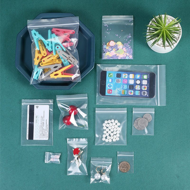 100Pcs Clear Thick Heavy Duty Zip Lock Bags Transparent Ziplock Poly Bag Package Small Jewelry Reclosable Plastic Zip Bags