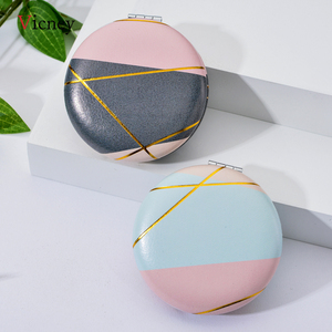 Image 1 - Vicney 2019 nouveau Double face Portable Mini miroir de maquillage mode tempérament pliable cosmétique Compact miroir pour les femmes cadeaux