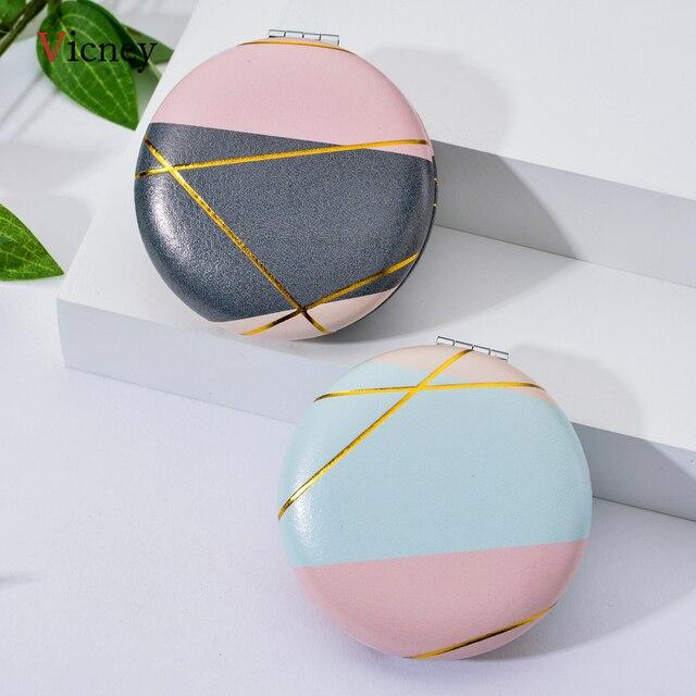 Vicney 2019 nouveau Double face Portable Mini miroir de maquillage mode tempérament pliable cosmétique Compact miroir pour les femmes cadeaux