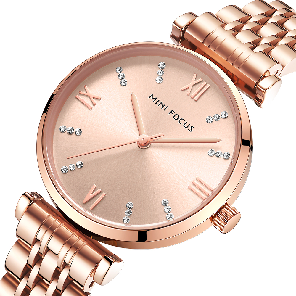 MINI FOCUS Women Watches Top Brand Luxury Fashion Ladies Watch 30m Waterproof Rose Gold Stainless Steel Reloj Mujer Montre Femme
