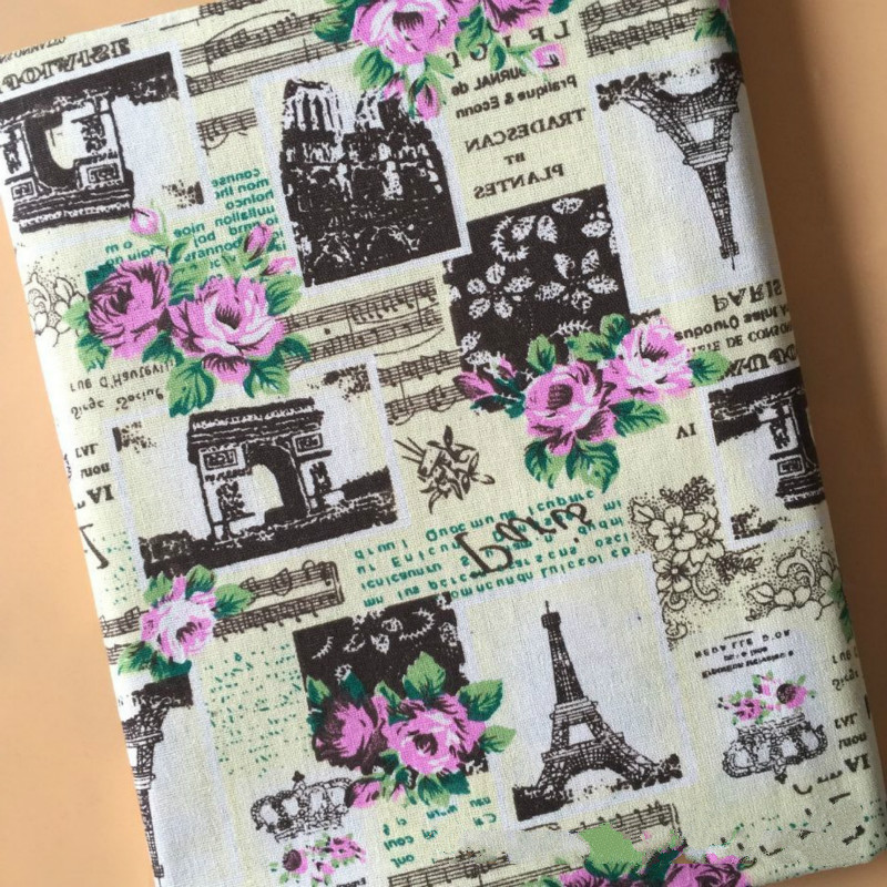 100% Pure Ctton Linen Fabric DIY Sewing Quilting Linen Cotton Fabric For Patchwork Rose Printed Canvas Material DIY Pillowcase
