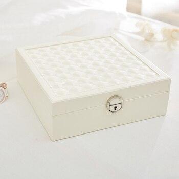 Pu Cuir En Bois Boîte De Rangement De Bijoux Organisateur Montre Boucle D'oreille Collier Bracelet Ongles Vitrine Femmes Cadeau Blanc