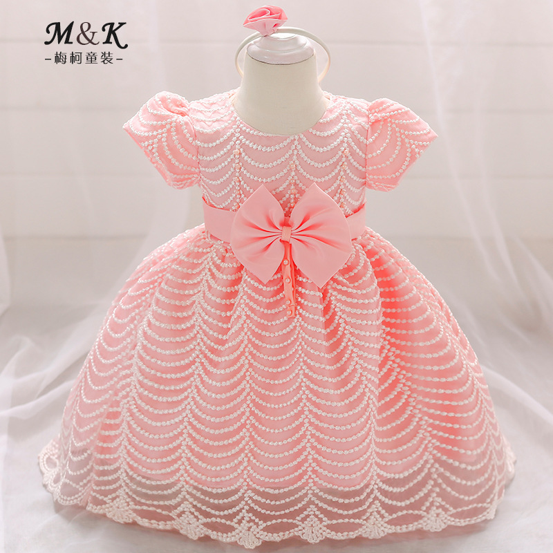 2019 New Style Babies' Dress Baby Girls Short Sleeve BABY'S FIRST Month Hundred Days A Year Of Age Formal Dress Wave Pattern Sma