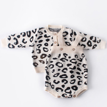 2019 New Pattern Baby Jumpsuit Girl Spring And Autumn Sweater Leopard Print Jacket+Leopard Print Jumpsuit Two Piece Suit