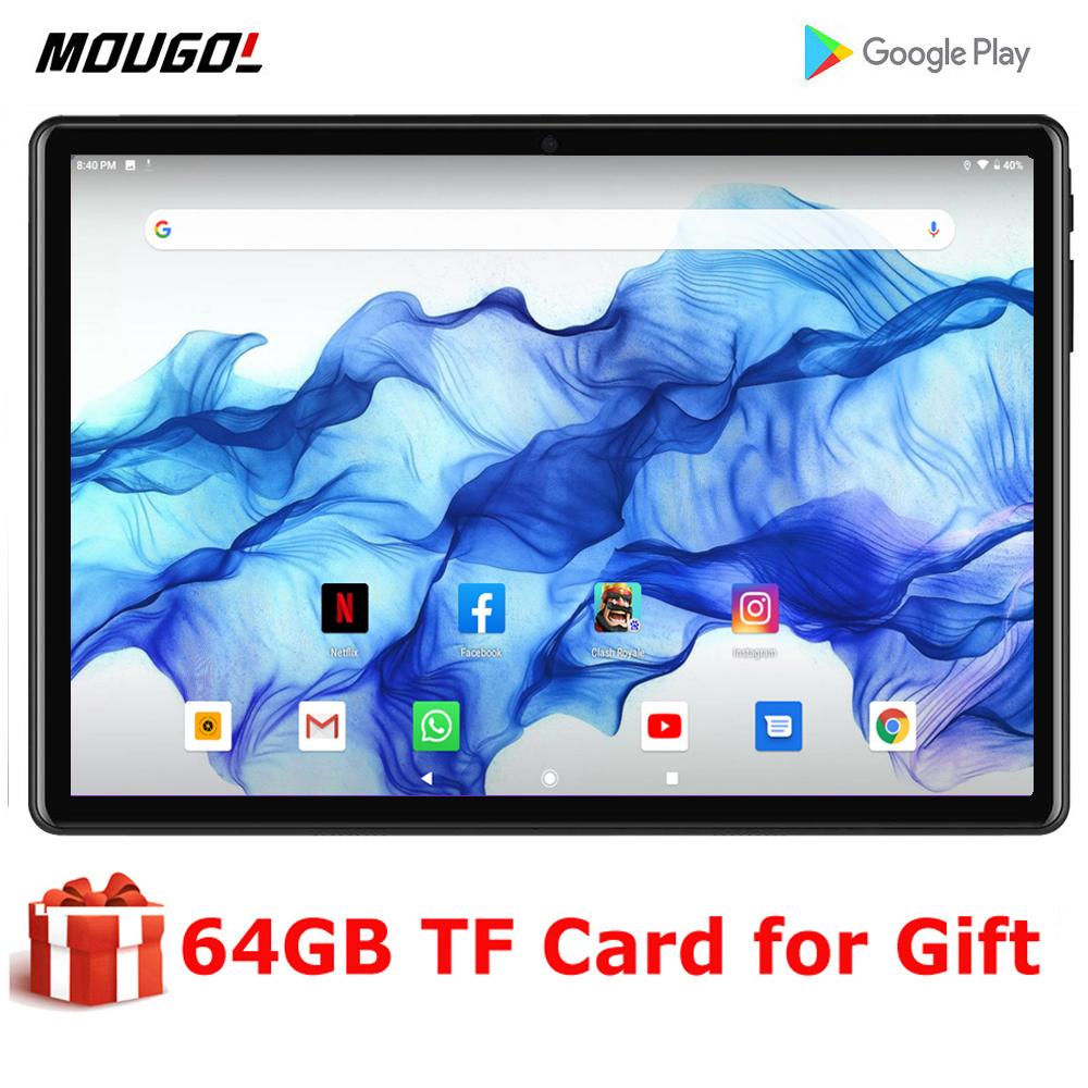 2020 New 10 Inch Tablet PC Android 9.0 Tablets Ram 2GB Rom 32GB WiFi GPS 10.1 Tablet IPS Dual SIM GPS Tab +64GB TF CARD Gift