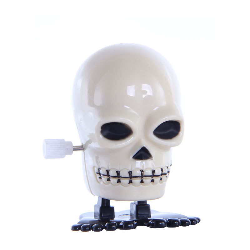 1PCS New Children's Hairdressing Toy Skull Jumping On Chain Wind Up Toys For Children