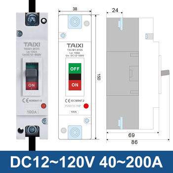 Disyuntor 1P 2P DC 100A 200A 300A 400A Carga de coche, Protector de batería de 24V 36V 48V Aislador 2