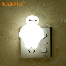 الإبداعية Baymax الكرتون LED ضوء الليل ل الظلام ليلة الأطفال نوم أباجورة 110 فولت 220 فولت الولايات المتحدة/الاتحاد الأوروبي التوصيل الطفل النوم ضوء