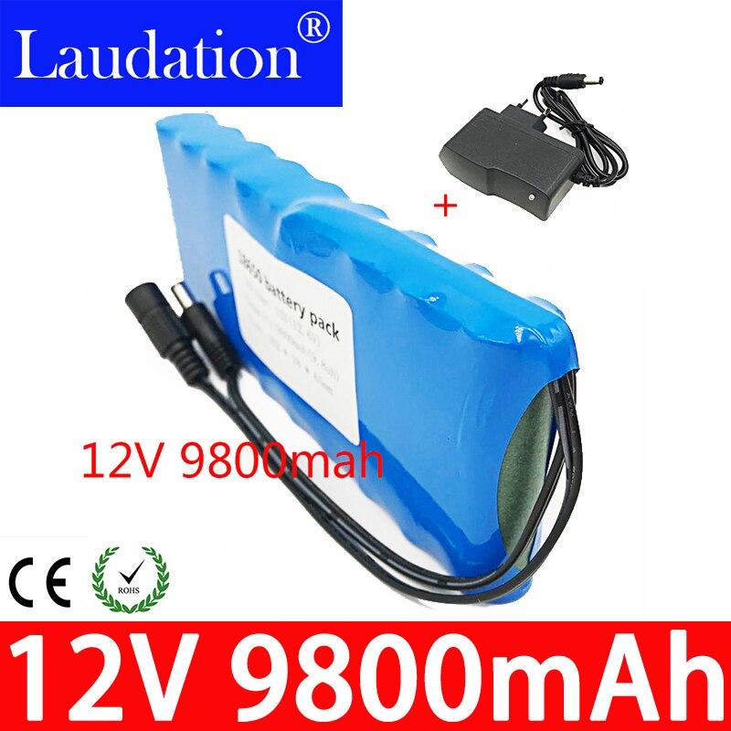 12V Battery 18650 9.8Ah Portable Rechargeable Batteres DC 11.1V 12.6V 9800mAh Li-Ion CCTV Camera Monitor Laudation