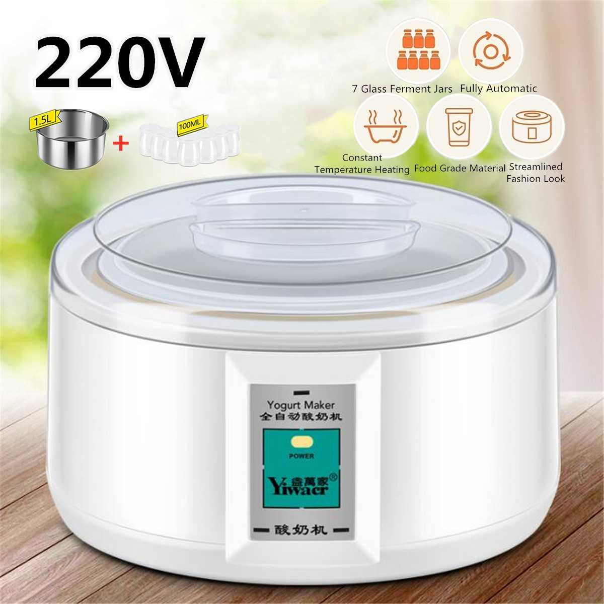 Автоматическая электрическая Йогуртница, многофункциональный контейнер из нержавеющей стали, контейнер для риса, вина Natto, четыре чашки для йогурта, 1,5 л