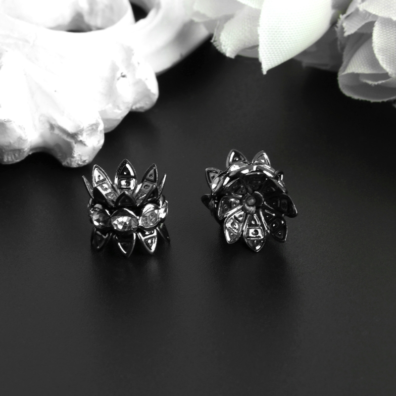 10Pcs/Set 10mm Silver Plated Gun Black Flower Antique Spacer Beads Jewelry DIY 634D