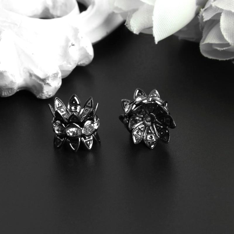 10Pcs/Set 10mm Silver Plated Gun Black Flower Antique Spacer Beads Jewelry DIY 634D