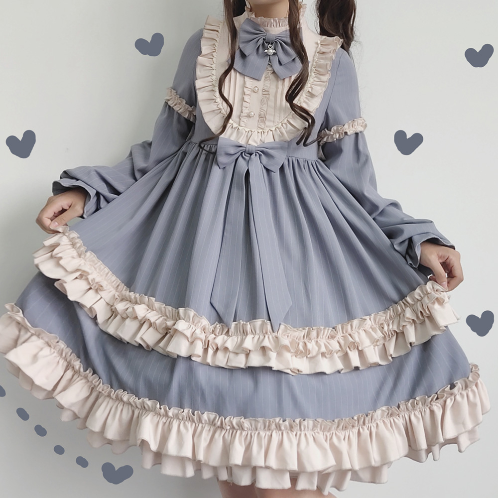 Doux cacao Milkshake Vintage rayure mignon noeud volants OP robe femmes fête automne hiver à manches longues élégant robe de princesse